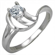 Engagement ring with tangled band