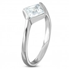 Engagement steel ring with rhombus zircon in clear colour