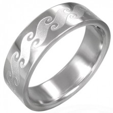Stainless steel ring with matt waves