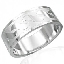Stainless steel ring with shiny S-pattern