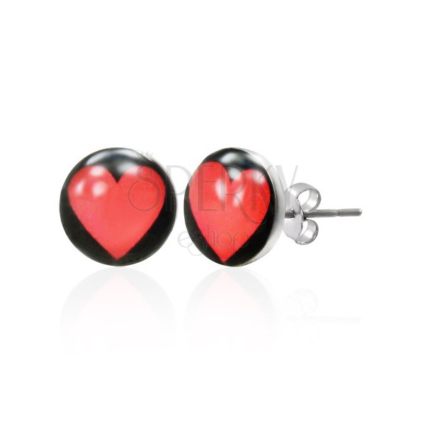Steel stud earrings - heart with black background