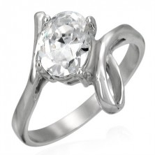 Ring made of 316L steel with big clear zircon and loop