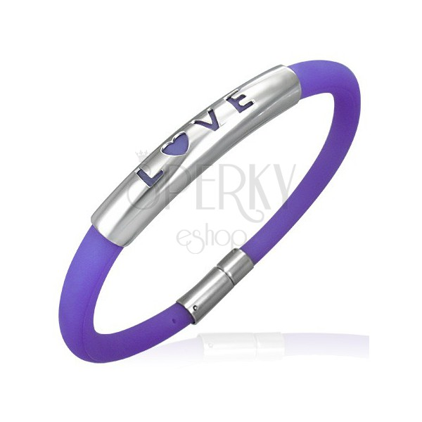 Rubber bracelet in a purple shade - metal plate with a writing LOVE