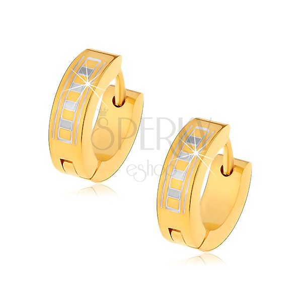 Shiny round earrings made of 316L steel in gold hue with Greek pattern