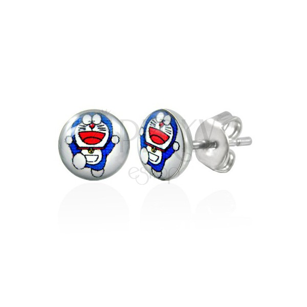 Steel earrings with fairy tale cat