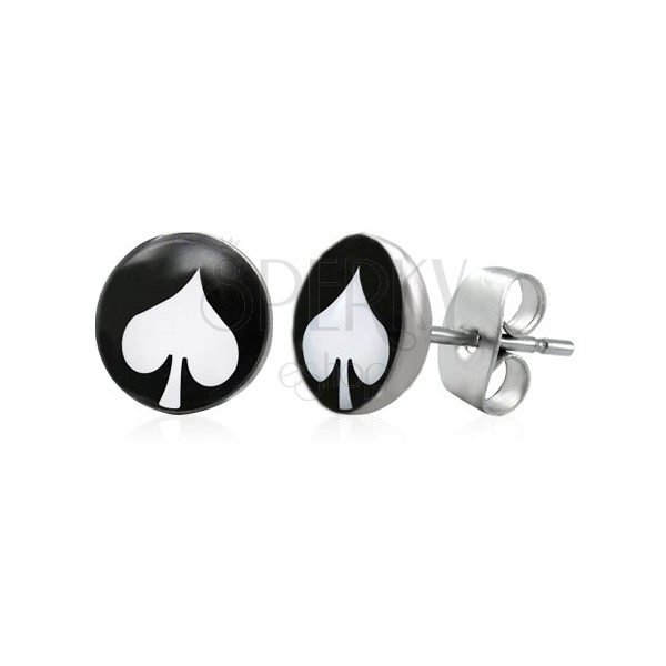 Steel earrings, black circle with white spade