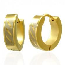 Steel earirngs - gilded with lines on matt base
