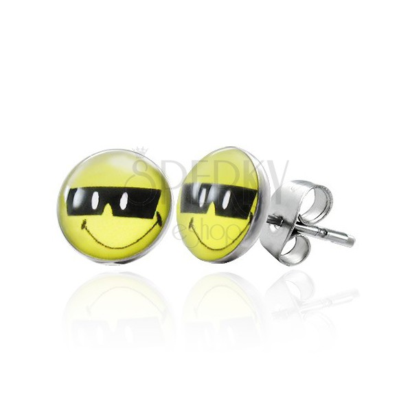 Steel earrings, cool smiley with black sunglasses, studs