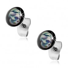 Stud earrings made of 316L steel, blue-white skull, black background