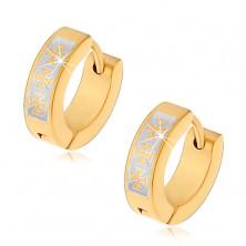 Hinged hoop earrings made of surgical steel in gold colour, Maltese Cross