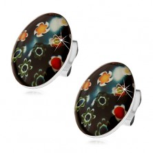 Earrings made of 316L steel, black oval with coloured flowers, studs