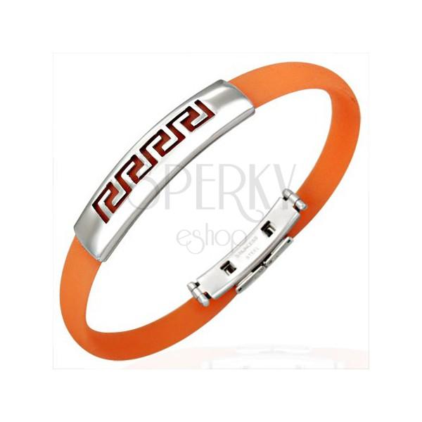 Silicone bracelet - Greek symbol, orange