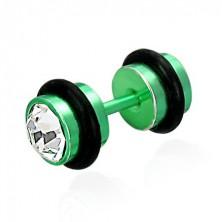 False piercing in a green colour - cut clear zircons, black rubber bands