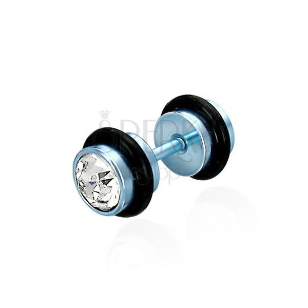 False piercing in a blue coloured design - clear cut zircons, black rubber bands