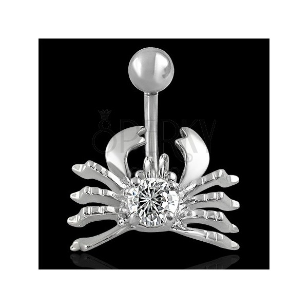 Crab belly ring - clear zircon