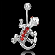 Lizard belly ring with red zircons