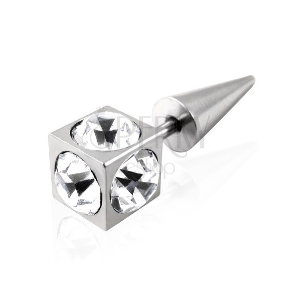 Cubic false taper with zircons - clear