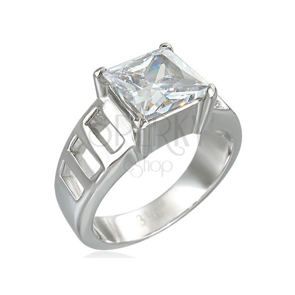 Engagement ring with big square zircon and six holes