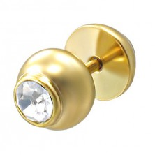 Fake piercing in gold colour with a rhinestone