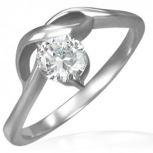 Engagement ring with round zircon and gentle waves