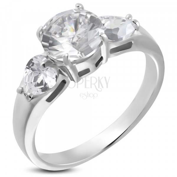 Engagement ring - 1 big round and 2 heart-shaped zircons