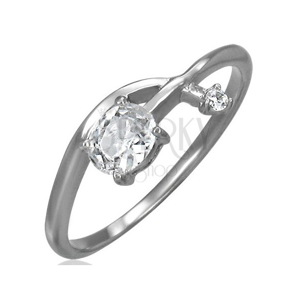Engagement ring - tangled zirconic arrow