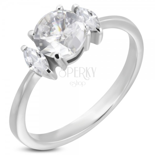 Engagement ring with round zircon and two oval zircons