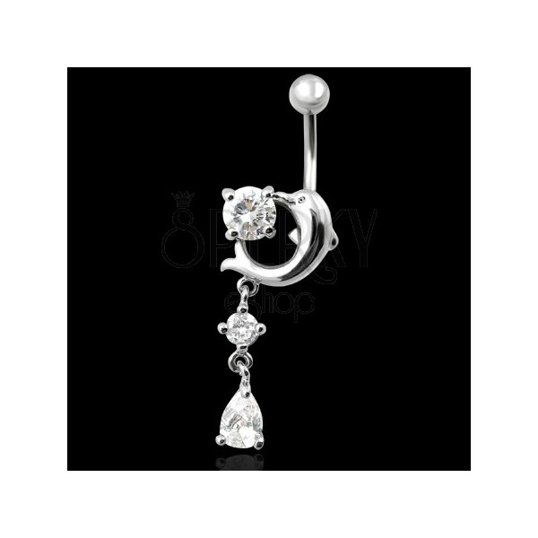 Belly ring with dolphin and drops