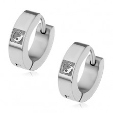 Earrings made of 316L steel in silver colour, engraved symbol YIN - YANG