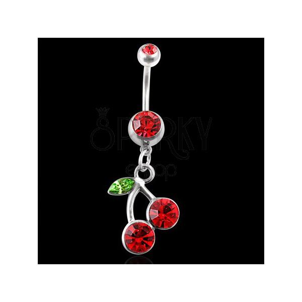 Bellybutton ring - zircon cherries