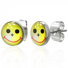 Small round steel earrings - yellow smiley