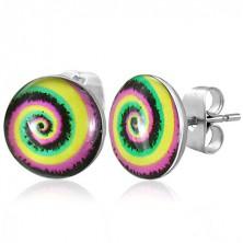 Stud steel earrings - colourful spiral
