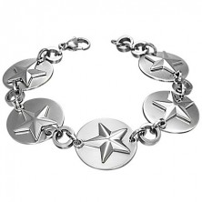 Stainless steel bracelet - stars on circles