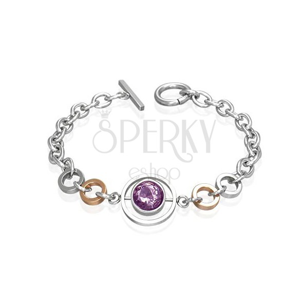Surgical steel bracelet with a big pink zircon