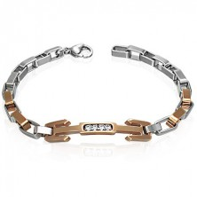 Surgical steel bracelet - trident with zircons
