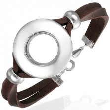 Leather bracelet with circular decoration