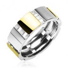 Steel ring with golden parts