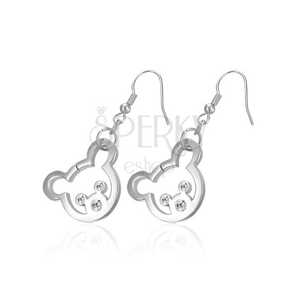 Steel earrings in a silver colour - bear with zircon eyes and nose