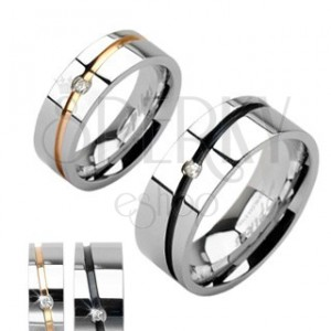 Steel wedding rings in silver color, gold or black stripe with zircon
