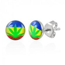 Stud steel earrings - potleaf with flag
