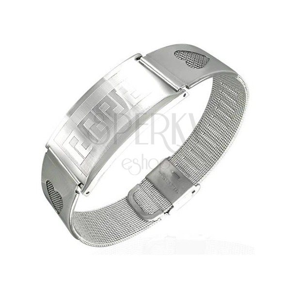 Steel mesh bracelet with hearts and tag - Greek key