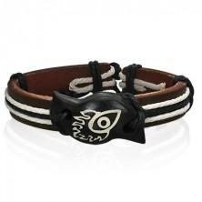 Leather bracelet with symbol - devil eye in flames