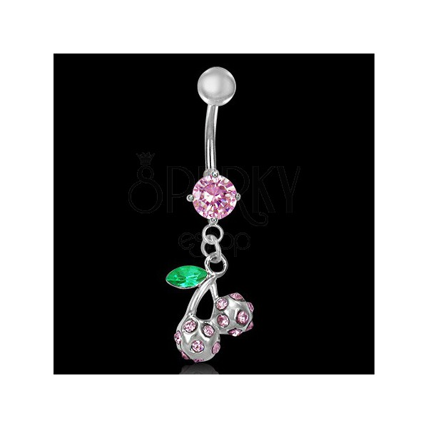 Belly button ring - pink cherries with leaf