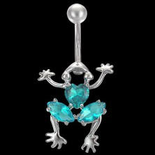 Crawling frog belly ring with colorful rhinestones