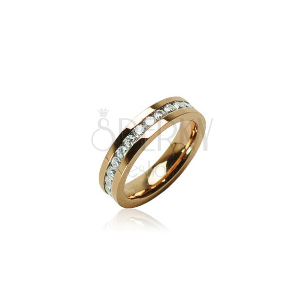 Steel ring in gold colour with zircons