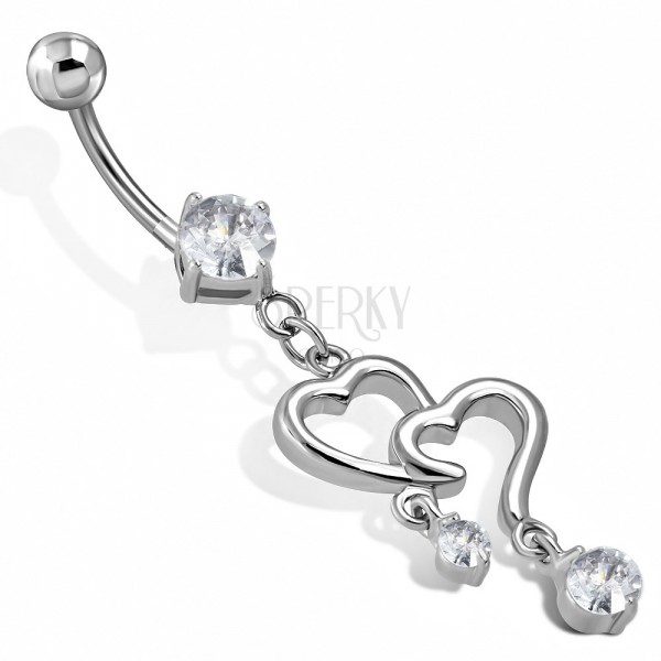Belly steel piercing - two heart contours with pensile zircons