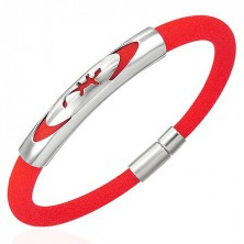 Rubber bracelet - round, red, lizard in ellipse