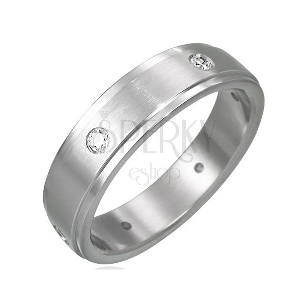 Matt steel ring with six embedded zircons