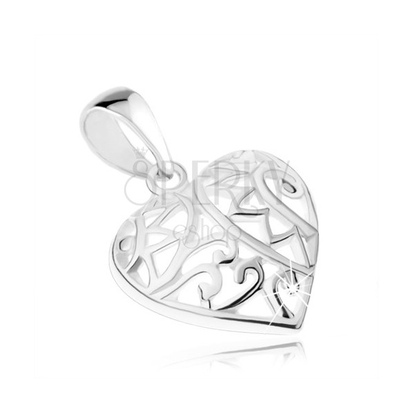 Pendant - symmetrical heart with filigree decoration, 925 silver
