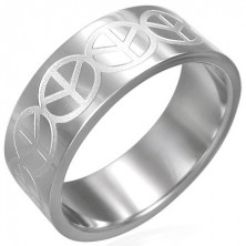 Stainless steel ring with peace sign